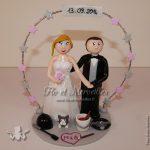 Couple de figurines de mariage avec marié peintre, mariée fan d'équitation