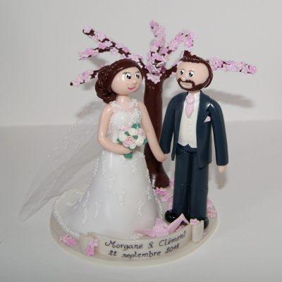 figurines de mariage personnalisées, avec cerisier en fleur et petite origami