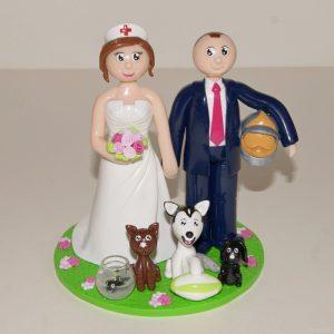 Figurines personnalisées de mariage : infirmière et pompier