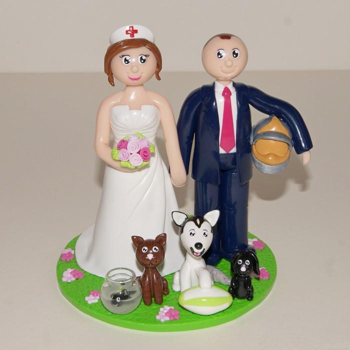 Figurines de mariage personnalisées, infirmière et pompier, chat, chien, lapin et poisson