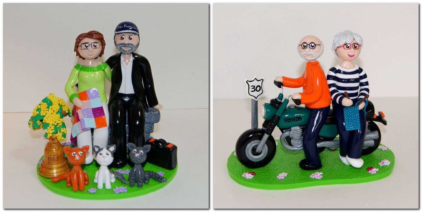 Figurines anniversaire de mariage, patchwork, bricolage, moto, tricot