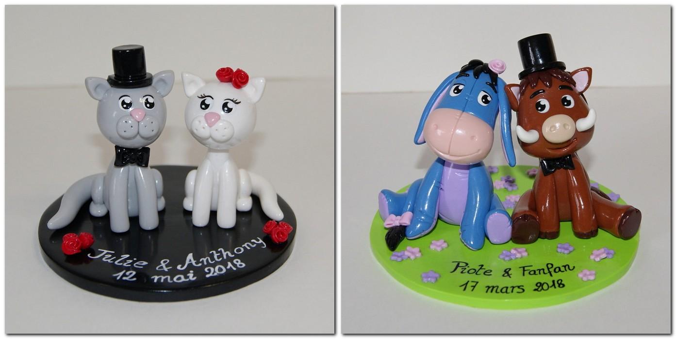 Figurines mariage personnalisées couple de chats et couple Bourriquet et sanglier