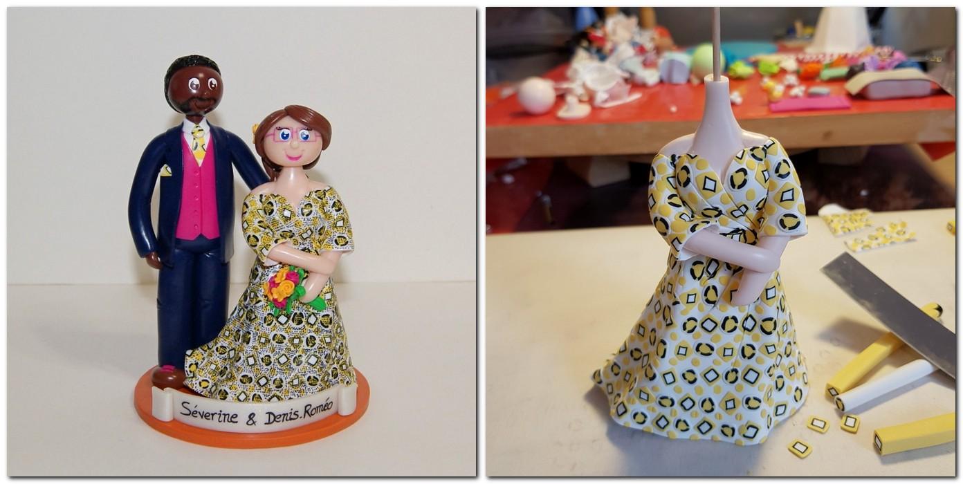 Figurines mariage avec robe en tissu africain