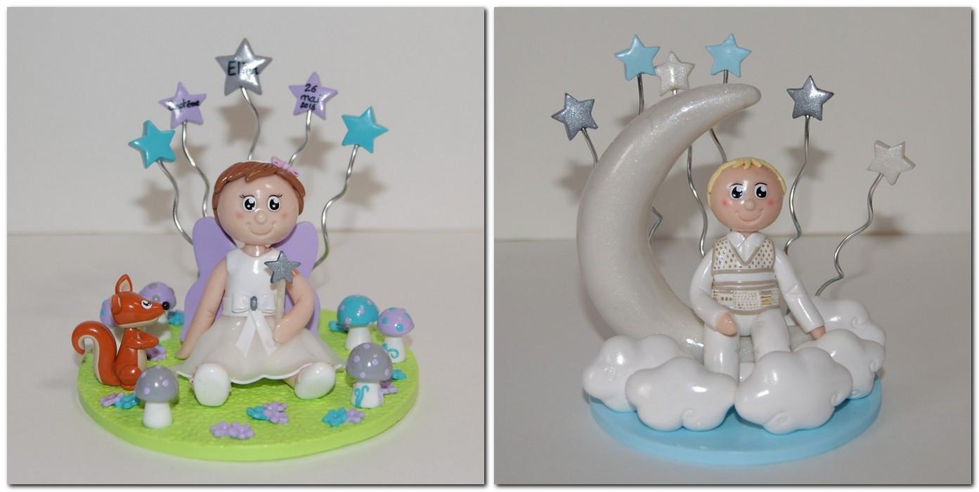 Figurine baptême personnalisée avec étoiles suspendues, lune, écureuil