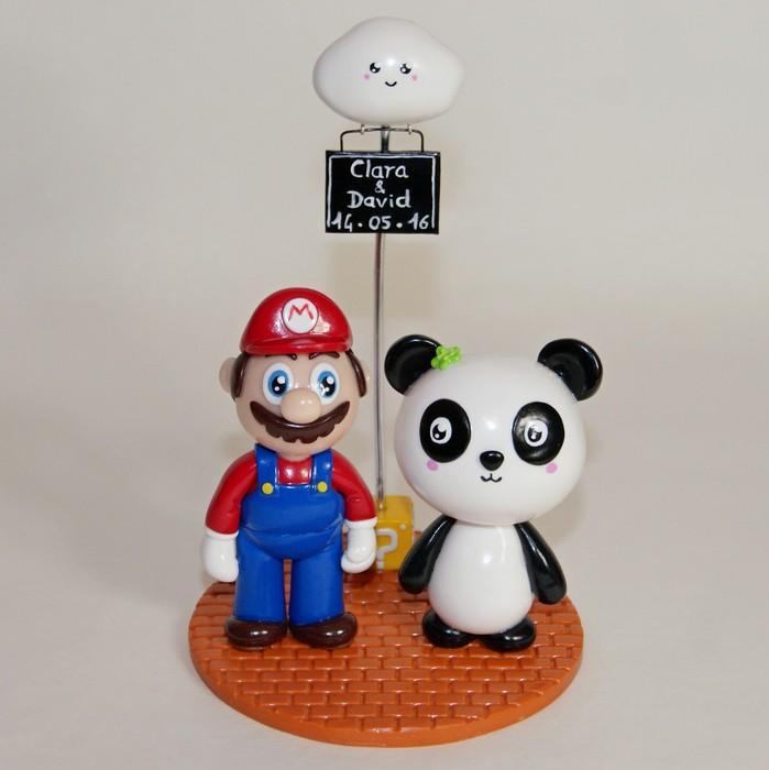 Figurines mariage geek, Mario Bros et Panda