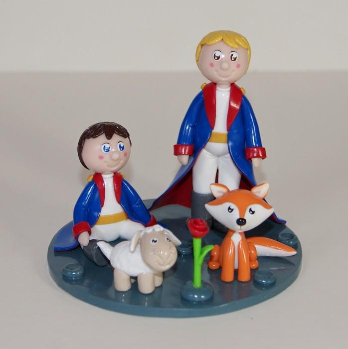 Figurine thème Petit Prince de St Exupéry avec renard, mouton, et rose