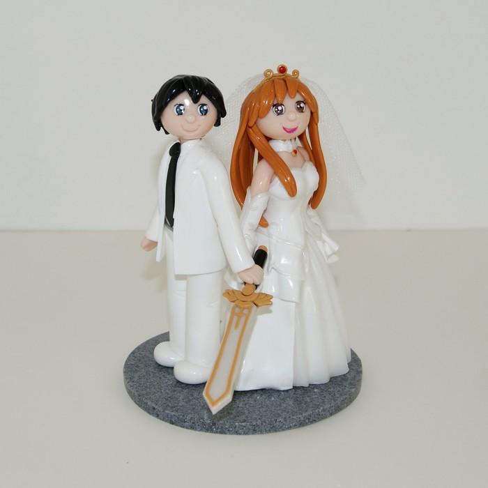 figurine mariage personnalisées geek, thème manga Sword Art Online,
