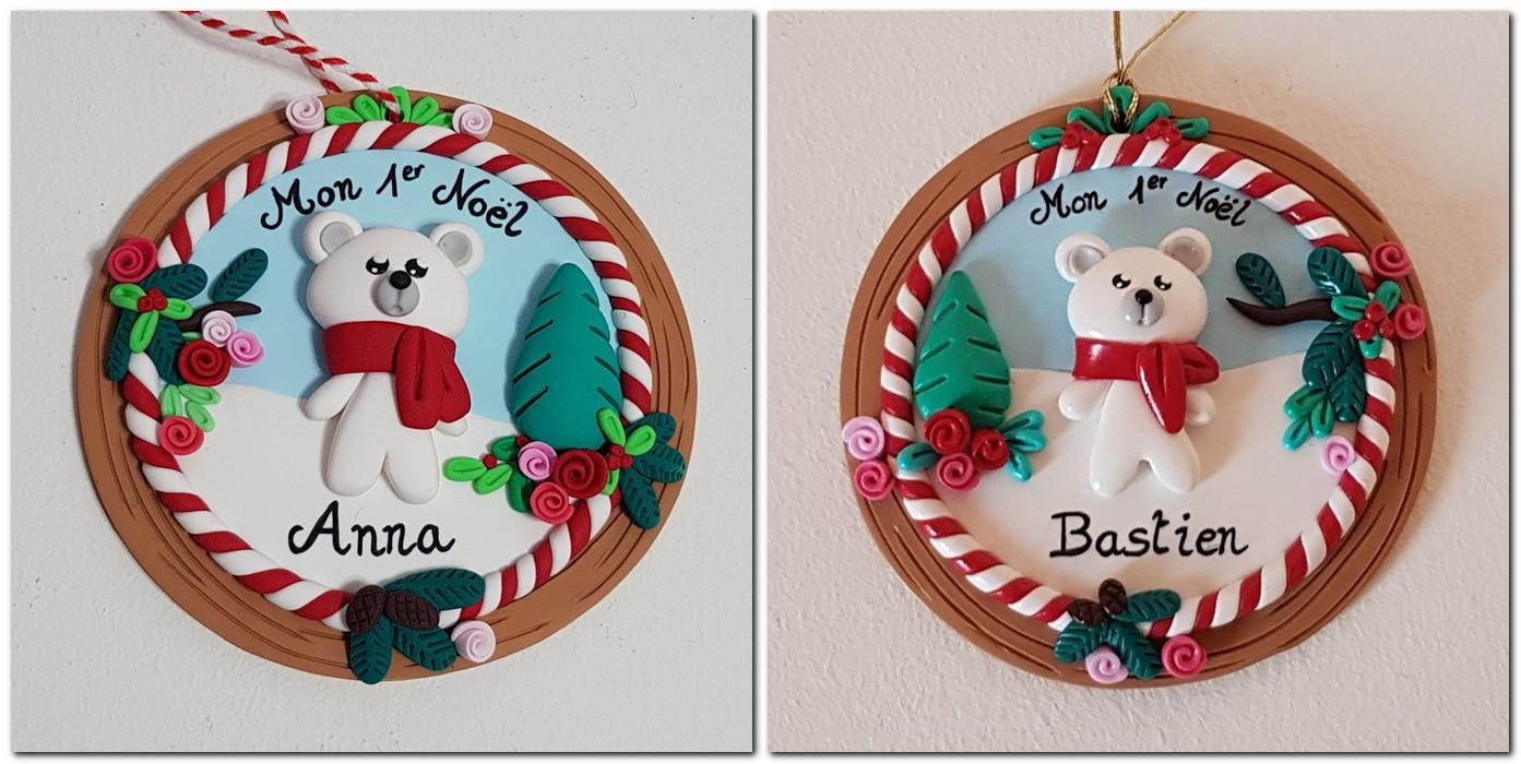"""suspension pour sapin """"Mon 1er Noël"""" avec ourson blanc sur support rond"""