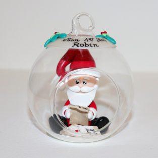 """boule en verre """"Mon 1er Noël"""" avec Père-Noël ouvrant des lettres d'enfant"""