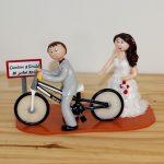 Figurines de mariage, le marié à vélo
