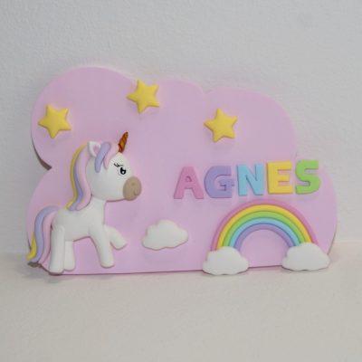 Plaque de porte Licorne et arc-en-ciel, avec prénom personnalisable