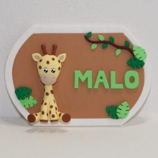 plaque de porte avec prénom, thème savane avec girafe