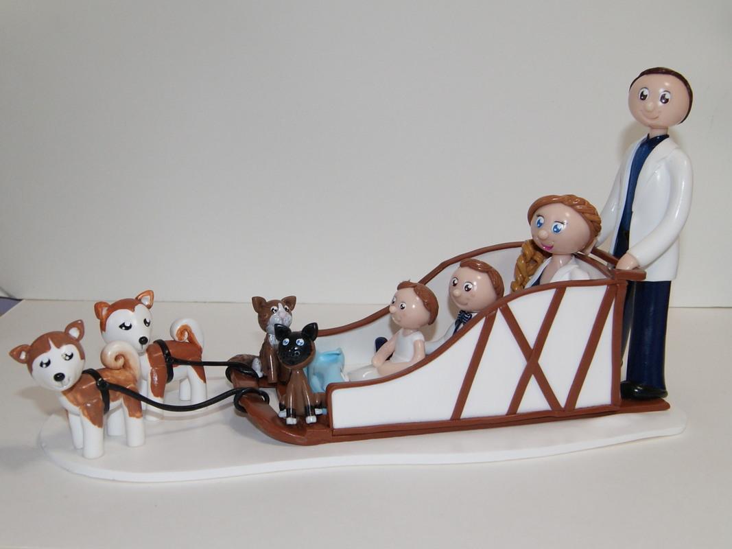 figurines de mariage musher / cake topper pour gâteau de mariage avec chiens de traîneau