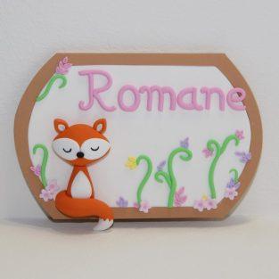 plaque de porte personnalisable, thème forêt avec un petit renard