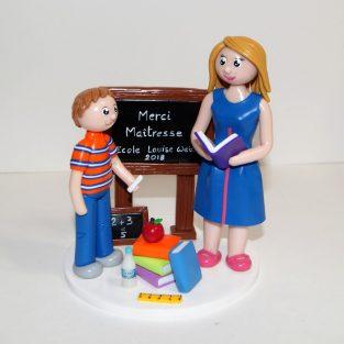 "figurine ""Merci Maîtresse"" cadeau fin d'année maîtresse, maître, assistante maternelle, atsem, école"