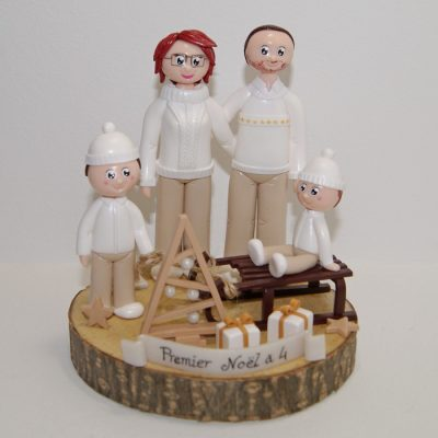 figurines personnalisées portrait de famille Noël naturel